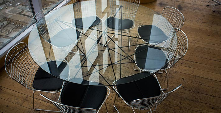 stainless steel combined with other materials in designer furnishings